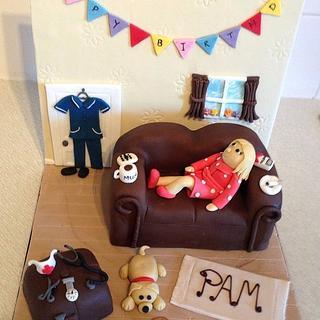 Nurse themed sofa cake with backdrop 'wall'