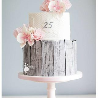 Rustic 25th anniversary wedding cake