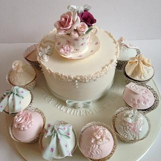 Vintage tea cup cake