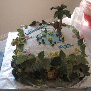 Baby Shower Jungle Theme. - Cake by kitchenkapers