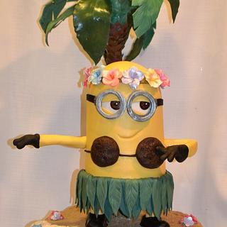 Hula Minion - Cake by Jenny Kennedy Jenny's Haute Cakes