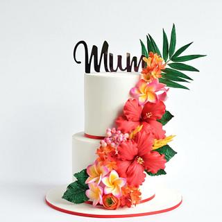 Bold and beautiful tropical flowers cake