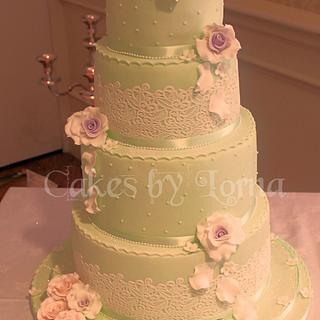 Vintage Rose Garden Wedding Cake Four Tier