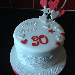 Edible lace birthday cake