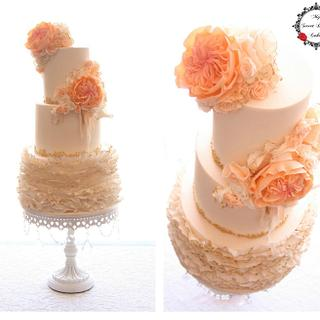 Wedding Cake with Peach, Ivory and Gold - Cake by My Sweet Dream Cakes