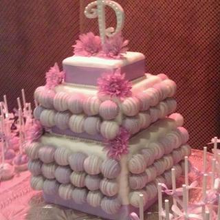 Purple and White Cake Bite Cake