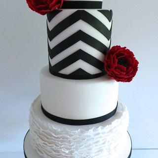 Chevrons & Ruffles Wedding Cake