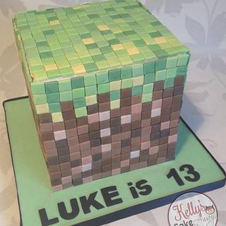 Minecraft Grass Block - Cake by Kelly Hallett