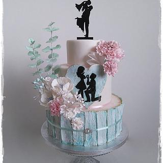 Wedding cake mint and pink