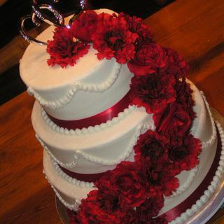 Crimson and White wedding - Cake by Cake Creations by Christy