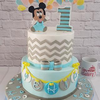 Mickey mouse 1st birthday boy cake