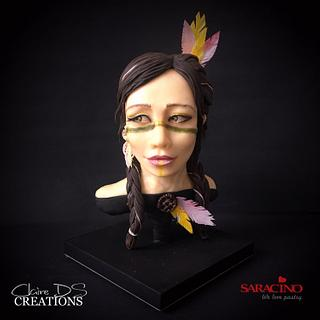 Indian native bust with braid - Cake by Claire DS CREATIONS