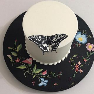Torta bordada en glasé