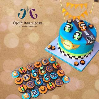 Car theme cake & cupcakes