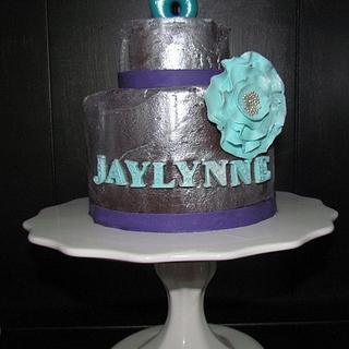 Silver painted ganache cake