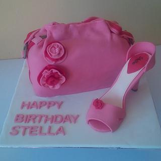 Pink handbag and shoe cake