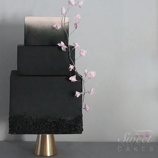 Black modern wedding cake