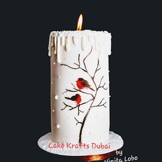 Handpaint Christmas Candle Cake