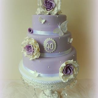 40th Vintage Chic Birthday Cake