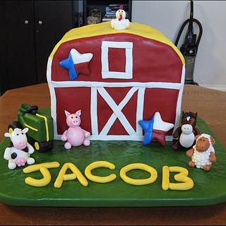 Farm Animals Barn Cake