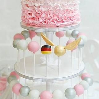 Ombre Ruffle Cakepop Wedding - Cake by Rachel