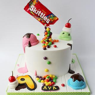 Skittles and ice cream cake