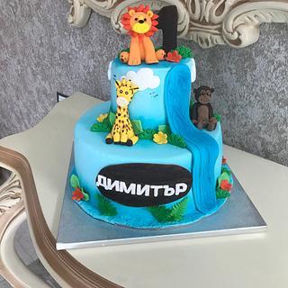 Safari animals cake