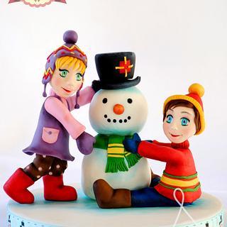 Children Building Snowman - Christmas in Frostington Collaboration 2014