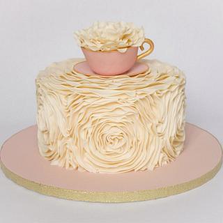 Ruffled Rosette Tea Party Cake