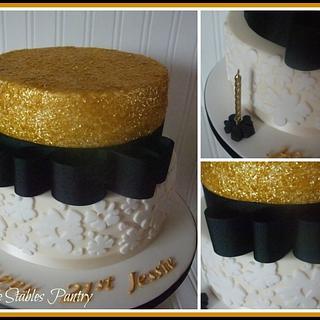 Gold and Black Glitter cake