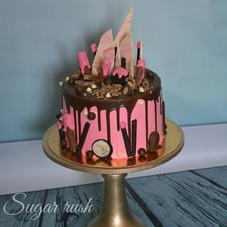 Pink drip cake  - Cake by Sara Mohamed