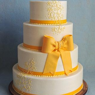 Yellow Bow on Buttercream