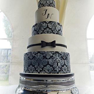 Monochrome Damask Wedding Cake - Cake by Spongecakes Suzebakes
