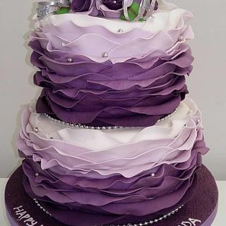18th Birthday, tiered ruffled ombre cake - Cake by Putty Cakes