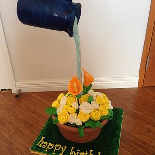 Flower gravity cake