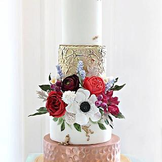 Wedding Cake with Golden Frogs
