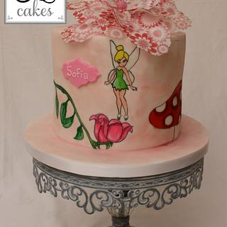 Tinkerbell hand painted cake