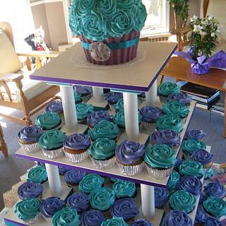 Peacock theme cupcakes