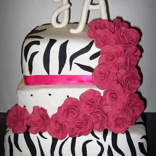 Zebra Print with hand made Roses
