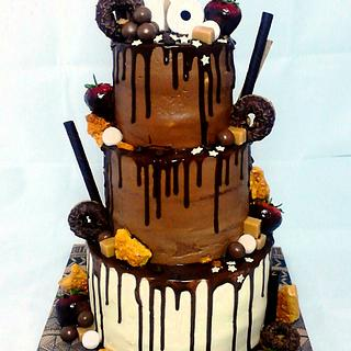 Triple chocolate drip cake