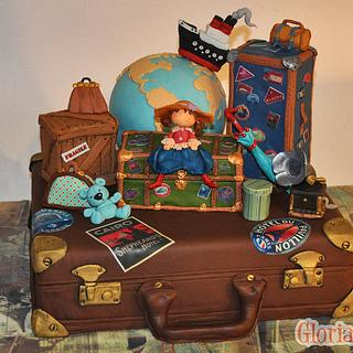 traveling suitcase cake