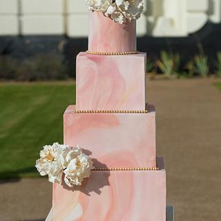 Blush Marble Wedding Cake