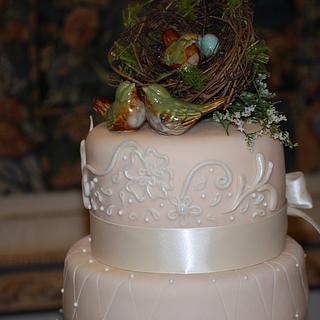 Bird Themed Wedding Cake