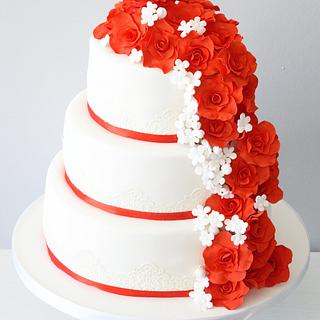 Red and white rose wedding cake  - Cake by Kayleigh's cake boutique