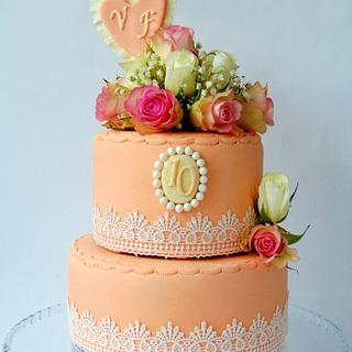 Wedding (Anniversary) Floral Cake