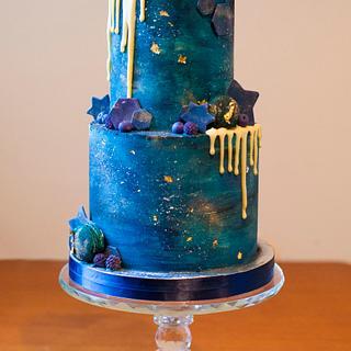 Two tier Galaxy cake - Cake by Kasserina Cakes