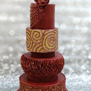 maroon and gold weddingcake
