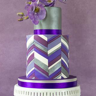 Purple chevron double barrel cake