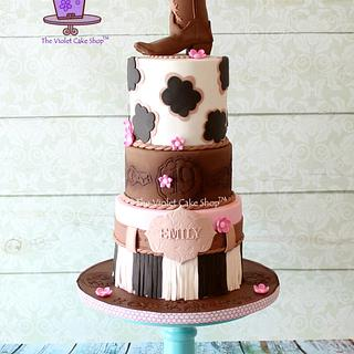GIRLY WESTERN 19th Birthday Cake with Boot Topper