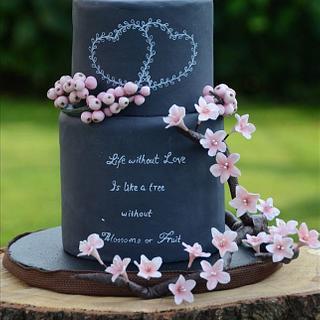 Blushy Blossoms & Berries Wedding Cake